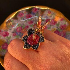 Stunning hummingbird ring, Sz 8, NWT
